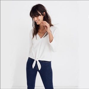madewell texture and thread tie front top white